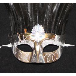 Silver Feather Male Mask with Rhinestone and Glitter Accents