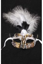 Silver Feather Mask with Jewel and Glitter Accents