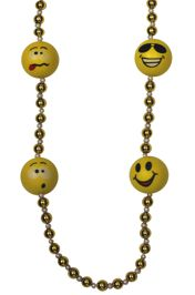 40in 12mm Smiley Faces Mardi Gras Necklace