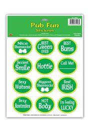 2.5in St Patrick's Day Pub Fun Stickers