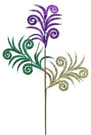 35in Long Mardi Gras Glittered Swirl Palm Spray