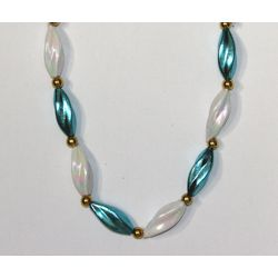 38in Metallic Turquoise/ White Pearl Swirl Necklace