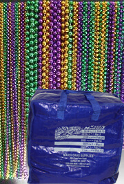 Mardi Gras throw bead mix in a Mardi Gras Supplies branded bag