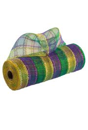 10in 30ft Tinsel Mardi Gras Check Deco Mesh