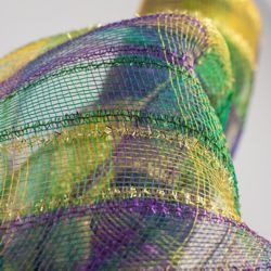 21in 30ft Tinsel Mardi Gras Check Deco Mesh