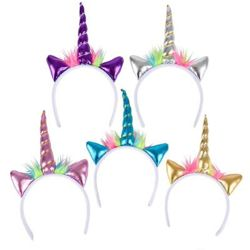 Assorted Colors Metallic Unicorn Headbands