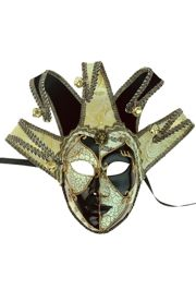 16in Wide x 18in Tall Venetian Female Black/ White Jester Mask