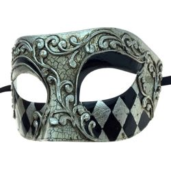 7in Wide x 3in Tall Silver Plastic Venetian Man Mask w/ Black Domino Design