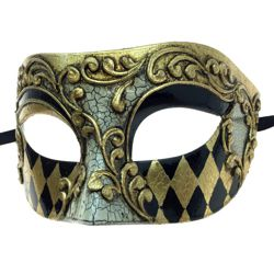 7in Wide x 3in Tall Gold Plastic Venetian Man Mask w/ Black Domino Design