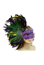 Mardi Gras Venetian Macrame Mask w/ Feathers on the side
