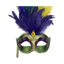 Mardi Gras Venetian Mask w/ Feathers and Stick