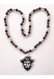 38in 12mm/6mm Metallic Black/ Silver/ Maroon Beads with one Polystone Medallion with VC artwork