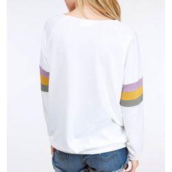 Long Sleeve White Mardi Gras Off Shoulder Top/ T-Shirt Size Medium